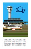 2017 Calendar Airport. Vector illustration calendar 2017 airport building near airfield Royalty Free Stock Photography