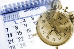 Calendar and Alarm Clock Stock Photo