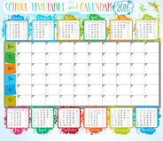 Calendar 2016. Сalendar 2016 and School timetable for students or pupils vector illustration