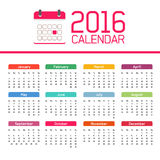 Calendar 2016. All months of the year, Christmas and New Year Royalty Free Stock Photography