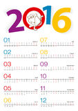 Calendar 2016, All mount, 2 weeks line. Year of the Monkey. Vector Illustration Royalty Free Stock Images