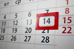 Calendar. With the allocated number in a red frame Royalty Free Stock Image