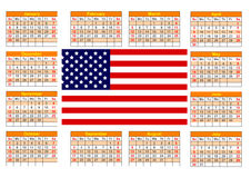 Calendar with American flag. Calendar for 2017 with the American flag on English language royalty free illustration