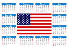Calendar with American flag. Calendar for 2017 with the American flag on English language Royalty Free Stock Image