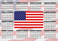 Calendar with American flag. Calendar for 2017 with the American flag on English language vector illustration