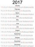 Calendar 2017 American holidays marked. Calendar 2017 with official American holidays marked and months in a row isolated vector illustration