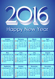 Calendar-2016-American Royalty Free Stock Photo