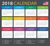 Calendar 2018 - American Version Stock Photos