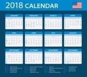 Calendar 2018 - American Version Stock Photo