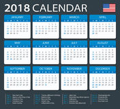 Calendar 2018 - American Version Stock Photography