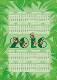 Calendar for 2016. Amid tropical foliage with monkeys Stock Images