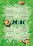 Calendar for 2016. Calendar for 2016 amid tropical foliage with monkeys Royalty Free Stock Photo