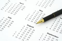 Free Calendar And Ballpoint Pen Royalty Free Stock Photo - 2366665