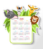 Calendar 2014 with animals. Cartoon zebra, elephant, giraffe and lion with calendar 2014 - illustration stock illustration