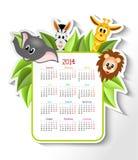 Calendar 2014 with animals. Cartoon zebra, elephant, giraffe and lion with calendar 2014 - illustration Royalty Free Stock Photo