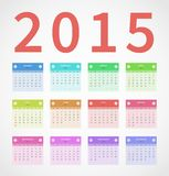 Calendar annual 2015 in flat design Royalty Free Stock Photo