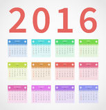 Calendar annual 2016 in flat design Royalty Free Stock Photos