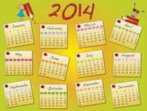 Calendar 2014. A 2014 annual calendar template Royalty Free Stock Photos