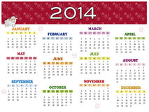 Calendar 2014. A 2014 annual calendar template Stock Photo