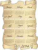 Calendar 2014. A 2014 annual calendar template Royalty Free Stock Images