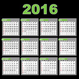 2016 Calendar. A 2016 annual calendar template for your design and projects,isolated on black background. The months are divided into tables. Weeks start on Royalty Free Stock Image