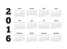 Calendar 2016 anos no idioma alemão, folha A4 Imagens de Stock Royalty Free