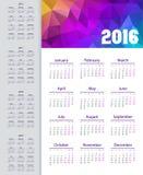 Calendar 2015, 2016, 2017, 2018, 2019 anos A semana parte de segunda-feira Imagem de Stock Royalty Free