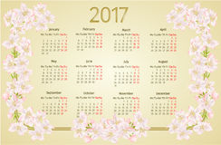 Calendar 2017 with apple tree blossoms vintage vector. Illustration Royalty Free Stock Images