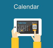 Calendar application on mobile phone. Reminder concept. Royalty Free Stock Photo
