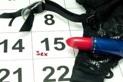 A calendar and appointment for sex royalty free stock photo