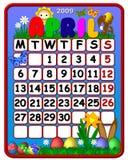 Calendar april 2009. Funny calendar april 2009 with symbols Stock Photos