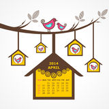 Calendar of April 2014 with birds sit on branch Royalty Free Stock Photos