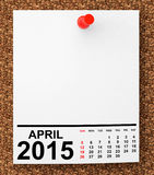 Calendar April 2015 Royalty Free Stock Photography