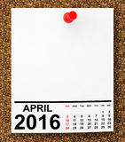 Calendar April 2016 Royalty Free Stock Photography