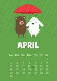 Calendar for April 2017 with cute bunny rabbit and bear under umbrella on green background. Royalty Free Stock Photo