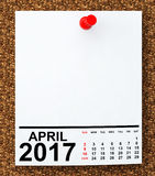 Calendar April 2017. 3d Rendering. Calendar April 2017 on blank note paper with free space for your text.3d Rendering Royalty Free Stock Photography