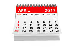 Calendar April 2017. 3d rendering. 2017 year calendar. April calendar on a white background. 3d rendering Royalty Free Stock Images