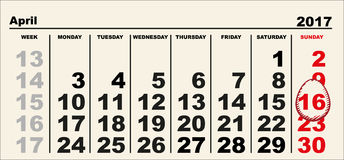 Calendar 16 April 2017 Easter. Egg shape reminder date. Illustration in vector format Royalty Free Stock Photos
