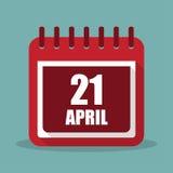 Calendar with 21 april in a flat design. Vector illustration. Calendar  with 21 april in a flat design. Vector illustration Royalty Free Stock Images