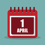 Calendar with 1 april in a flat design. Vector illustration Royalty Free Stock Image