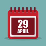 Calendar with 29 april in a flat design. Vector illustration. Calendar  with 29 april in a flat design. Vector illustration Stock Photos