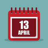 Calendar with 13 april in a flat design. Vector illustration Royalty Free Stock Image