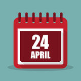 Calendar with 24 april in a flat design. Vector illustration Royalty Free Stock Photography