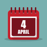 Calendar with 4 april in a flat design. Vector illustration Royalty Free Stock Photo