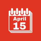 The Calendar 15 april icon. Tax day Royalty Free Stock Photography
