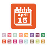 The Calendar 15 april icon. Tax day. Symbol. Flat Vector illustration. Button Set Stock Image