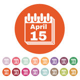 The Calendar 15 april icon. Tax day. Symbol. Flat Vector illustration. Button Set Royalty Free Stock Photography