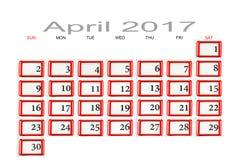 Calendar for April 2017 Stock Image