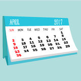 Calendar 2017 April page of a desktop calendar. 3D Rendering Royalty Free Stock Image