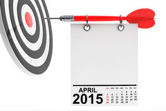Calendar April 2015 with target. Calendar April 2015 on blank note paper with free space for your text with target vector illustration